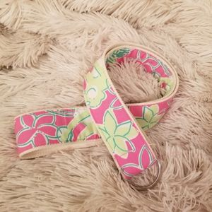 Lilly Pulitzer pink and green monkey fabric belt M